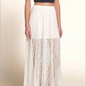 NWOT Hollister White Lace Maxi Skirt